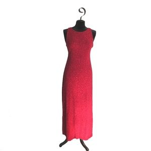 Ronni Nicole Red Sparkly Long Stretch Dress Size 8